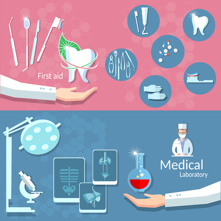 dental treatment: Medicine health dentistry dental treatment care surgery blood donation doctor operating room x-ray vector banners