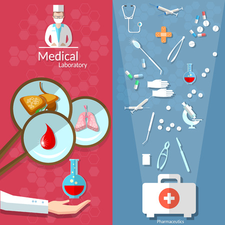 infirmary: Medicine open first aid kit blood donation transplantation pills human organs doctors hospitals medical vector banners Illustration