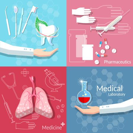 Medicine health medical concept dentistry blood donation surgery transplantation pharmaceutics doctor hand drug pills vector set