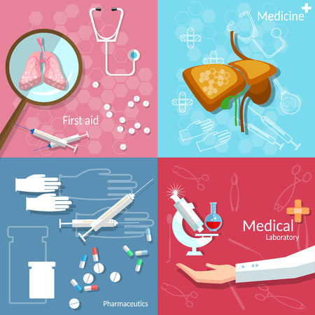 surgery doctor: Medical concept dentistry surgery transplantation pharmaceutics technology drug pills vector banners Illustration