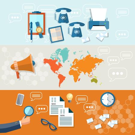 online news: Online news newsletter information business hand of journalist market news financial report flat headers banners