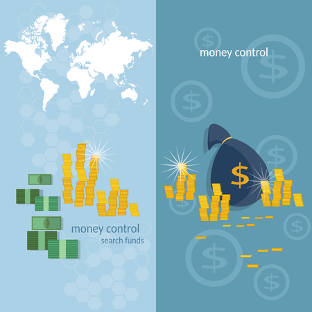 money transfer: World banking system money transfer world map transactions online payments banking business finance vector banners