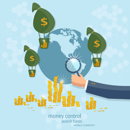 Business concept global control monetary system transactions online payments transfer banking finance startup vector illustration 矢量图像