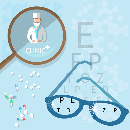 diopter: Oculist medical ophthalmologist doctor diagnostics eyeglasses adjustment vector illustration