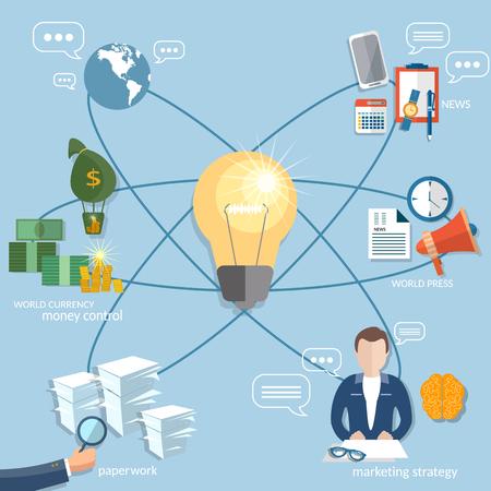globális üzleti: Global business concept startup businessman finance online payment management money transaction flat vector illustration Illusztráció