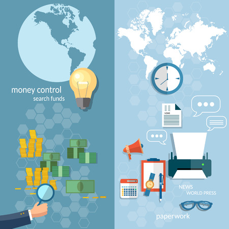 money transfer: Business world concept money transfer transactions finance online payment working office stationery businessman financial analyst paperwork vector banners Illustration