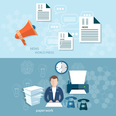 Office worker businessman paperwork document call help stock market reports analytics statistics vector banners