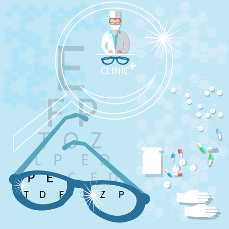 diopter: Oculist medical ophthalmologist doctor adult optometry examines eyesight eye ophthalmological clinic vector illustration Illustration