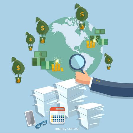 transactions: Global transactions business concept startup businessman finance online  transfer banking online payments office work paperwork vector illustration