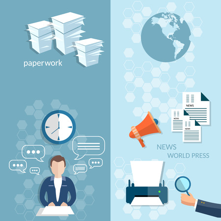 editors: Working in the office stationery office businessman financial analyst paperwork vector banners