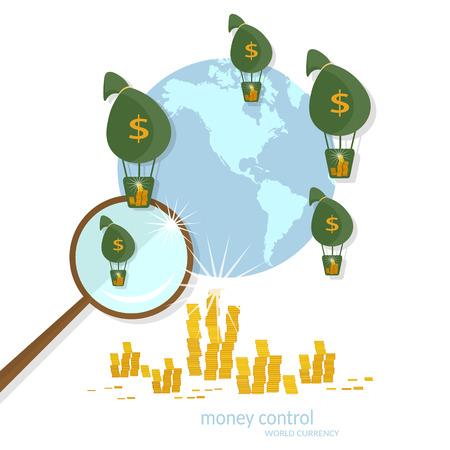 Transacciones globales negocio de financiamiento bancario de transferencia de los pagos en línea de flujo de efectivo monedas ilustración vectorial