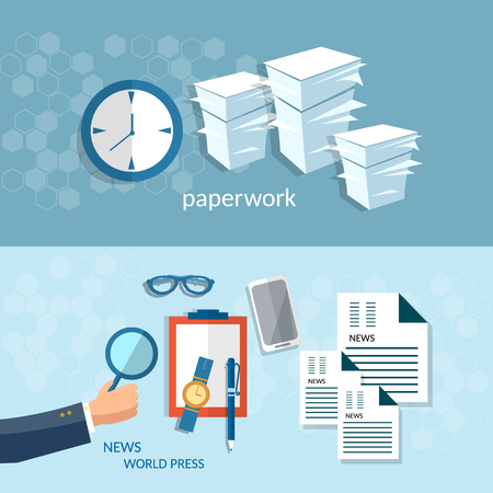 paperwork: Office work paperwork business concept startup businessman press newspapers analyst vector banners