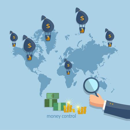 financing: Online money transfer transactions concept financing cash investment global business flat vector Illustration