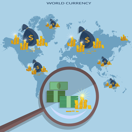 transakcji: Online money concept transfer transactions financing cash payments investment global business vector