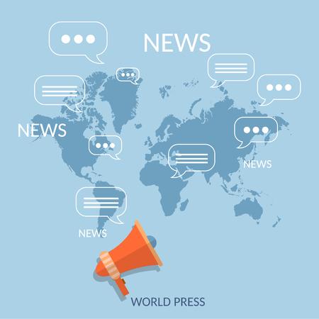 World news concept global online telecommunications tv radio live streaming Illustration