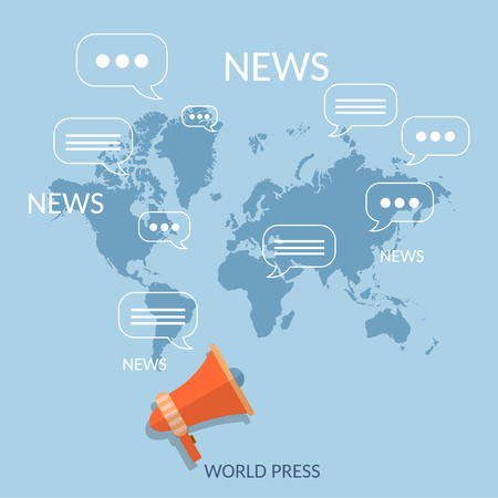 world news: World news concept global online telecommunications tv radio live streaming Illustration