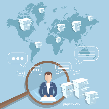 paperwork: Global corporate training concept businessman working office online paperwork clouds  financial report vector