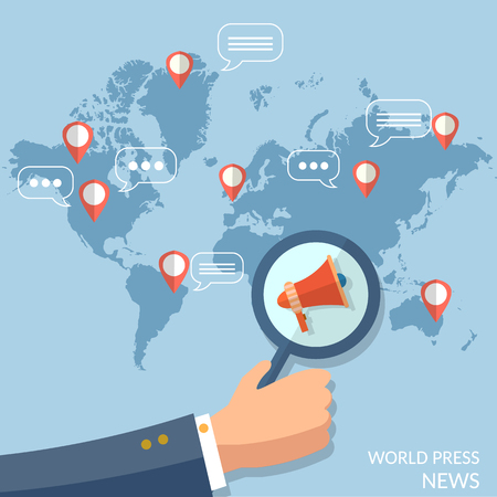 world news: World news global concept online television radio internet telecommunications information and searching vector
