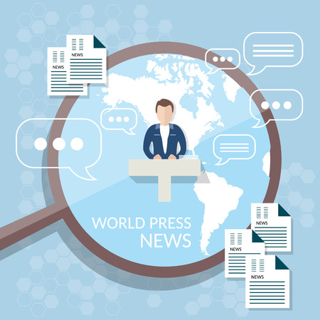 anchorman: World news concept news studio online television anchorman broadcaster radio online publication Illustration