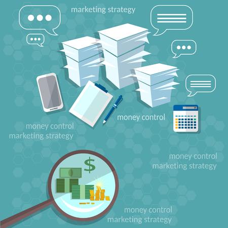 economist: Business concept startup office work businessman banking payments paperwork vector illustration Illustration