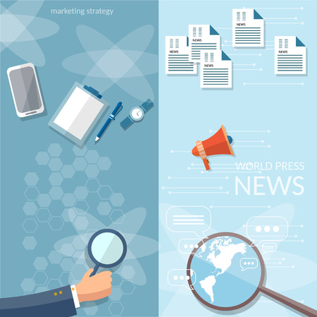 breaking news: Concept of breaking news newsletter  information business market news vector banners