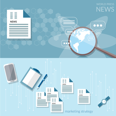 online newspaper: Business concept breaking news newspaper media, online news sites vector banners