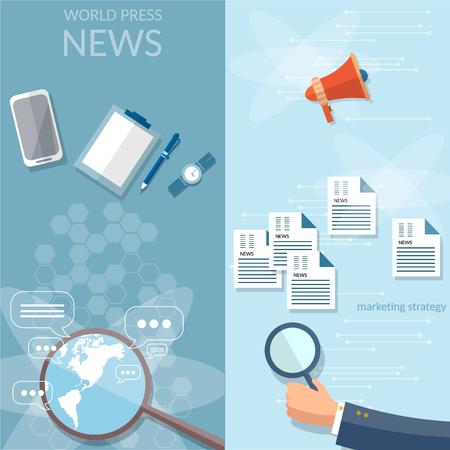 publicist: Breaking news online news concept newsletter  information business market news vector banners