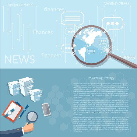 an analyst: News finance concept marketing strategy business analyst office work planning and development vector banners Illustration