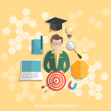 Education and science student study research experimentation lessons school university college physics chemistry vector illustration Illustration