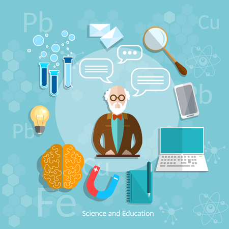 theory: Science and education professor online education theory teacher classroom university college lecture vector illustration