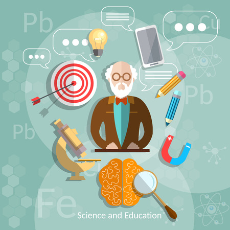 physics: Education and science professor back to school theory international education biology physics chemistry teacher vector illustration