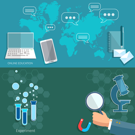 lecture: Science and education scientific research international technology training experiment chemistry physics computer university college lecture vector banners Illustration