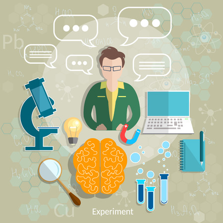 experimentation: Education and science teacher classroom student study research experimentation lessons school university college physics chemistry vector illustration Illustration