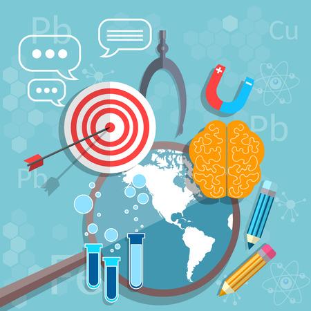 International education back to school graduation concept mathematics physics chemistry target study vector illustration
