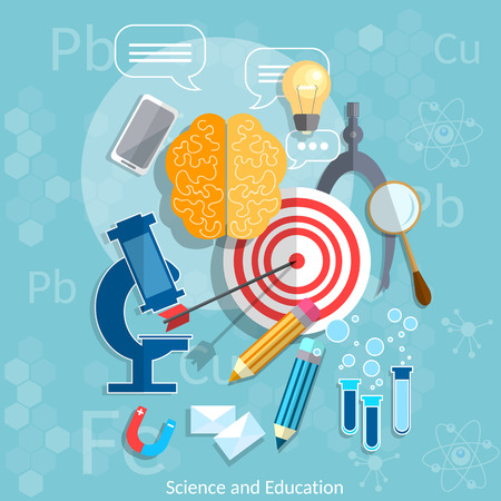 memorize: Education and Science target graduation concept chemistry physics mathematics vector illustration Illustration