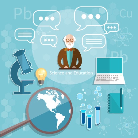 college students: Science and education professor theory physics chemistry college teacher university international education mathematics vector illustration