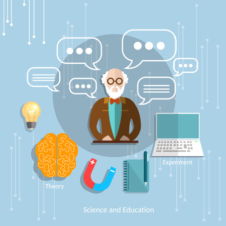 college professor: Science and international education classroom university professor theory teacher college lecture school objects vector illustration