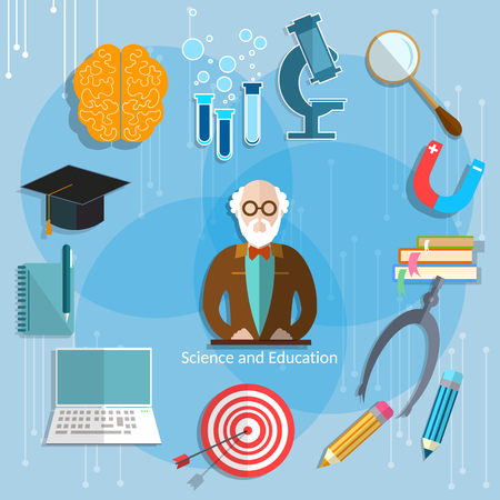 college professor: Science and education professor theory teacher classroom university college lecture scientific research international vector illustration Illustration
