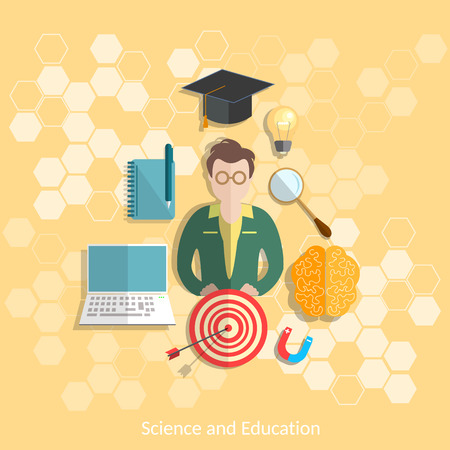 experimentation: Education and science student study research experimentation lessons school university college physics chemistry vector illustration Illustration