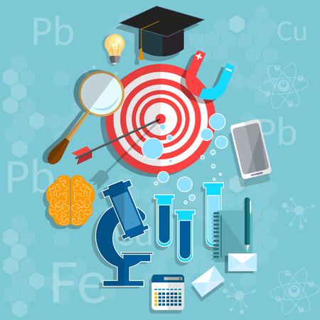 physics background: Education graduation concept biology physics chemistry classroom university college vector illustration