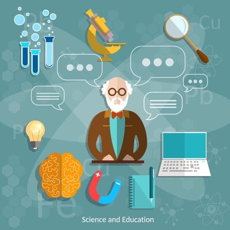 Science and education professor theory teacher international graduation concept university school objects college lecture vector illustration