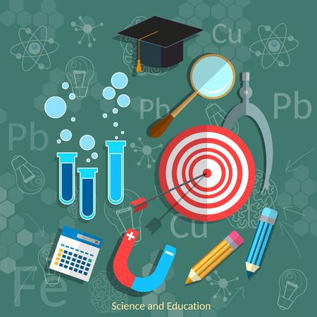 physics background: Education and Science blackboard mathematics physics chemistry graduation concept vector illustration Illustration