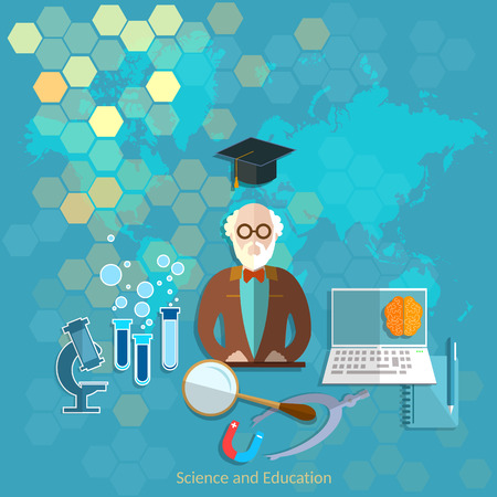 theory: Education and science concept professor teacher university college chemistry physics theory lecture vector illustration