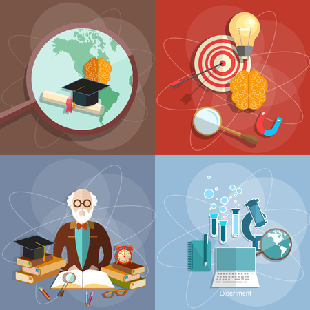 pedagogical: Educational set professor teacher diploma online higher education e-learning concept college university institute vector illustration