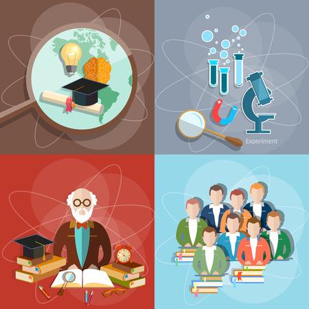 profesor: Educación establecer profesor estudiantes maestros examen de diploma de educación a distancia internacional de estudio de la universidad universidad ilustración vectorial instituto