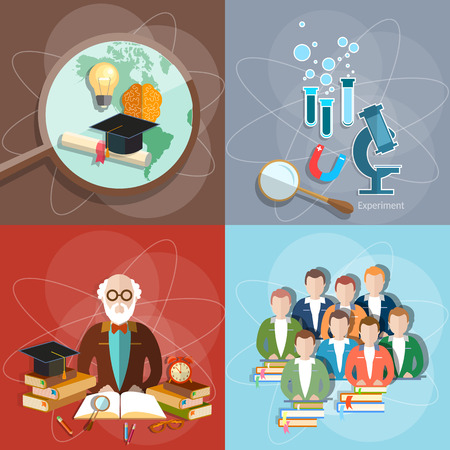 exam: Education set professor teachers students diploma exam distance education international study college university institute vector illustration Illustration