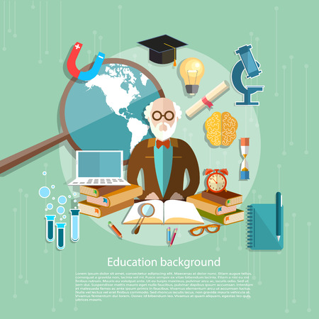 pedagogical: International Education professor teachers in the classroom e-learning school lessons college university vector illustration