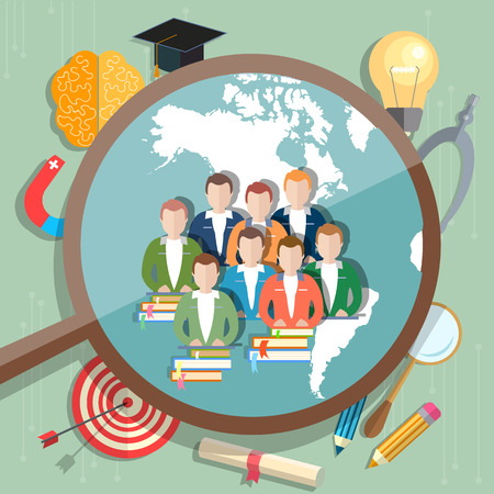 international students: Students and Education online concept international education e-learning college university vector