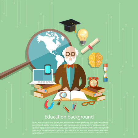 physics background: International Education school lessons e-learning professor teachers in the classroom diploma distance training college university vector illustration Illustration