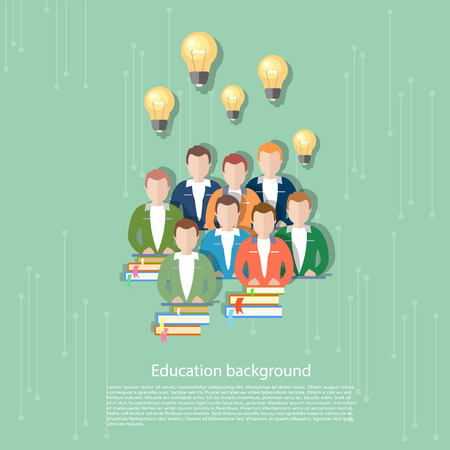 pedagogical: Science and education online education international education students e-learning concept college university vector illustration Illustration